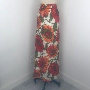 Vintage 70's Vibrant Sunflower Print Maxi Skirt